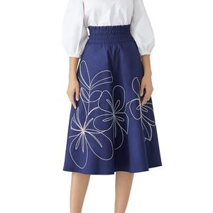 Parker wen blue fit and flare midi cotton skirt